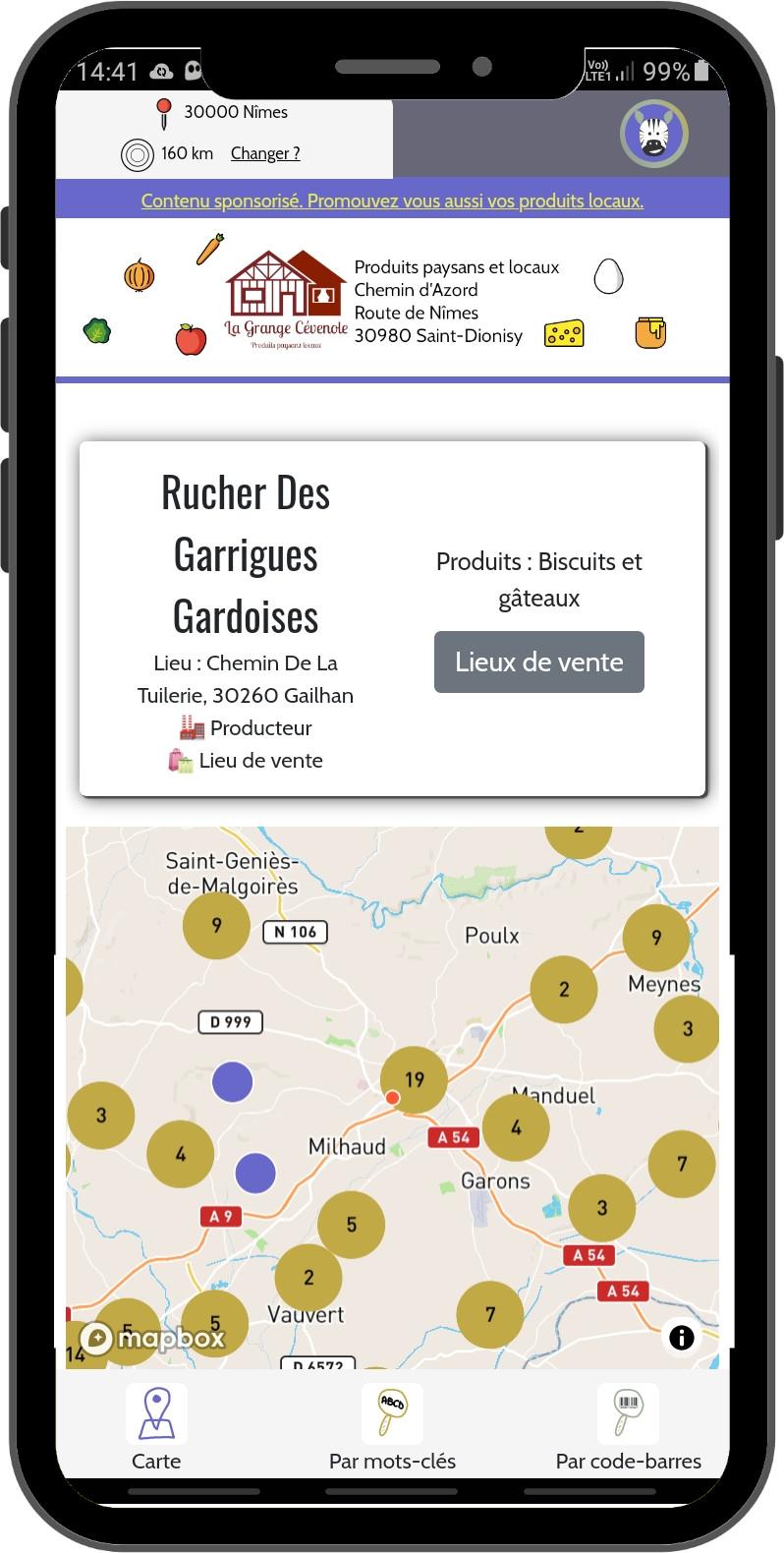 Screenshot de la fonctionnalité Map de l'application Egrevi